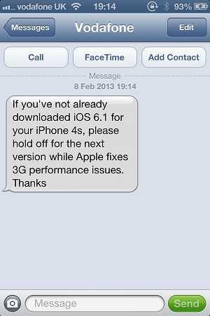رسالة من فودافون تحذر مالكي آيفون 4s من التحديث إلى ios 6.1