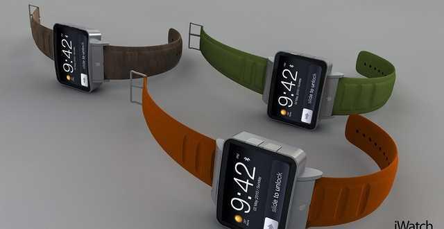 صورة لتصور لتصميم ساعة ذكية من آبل
