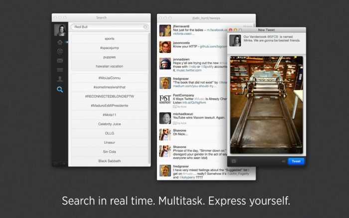 صورة من تطبيق تويتر لأجهزة ماك