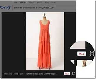 صورة توضح مشاركة الصور مباشرة على Pinterest من خلال نتائج البحث في bing