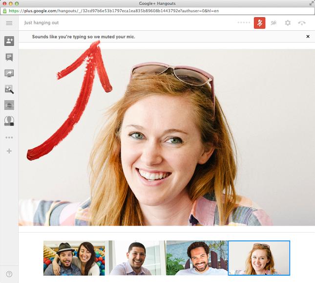 أعلنت جوجل من خلال مدونتها الرسمية عن ميزة جديدة لدردشة الفيديو الجماعية في جوجل بلس Hangout توفر للمستخدمين دردشة أكثر هدوءاً من خلال كتم الصوت تلقائياً أثناء قيام أحد المشتركين في المحادثة بالكتابة على لوحة المفاتيح