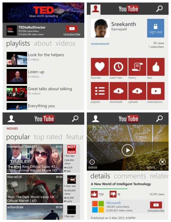 صور من واجهة تطبيق يوتيوب الجديد لهواتف ويندوزفون8