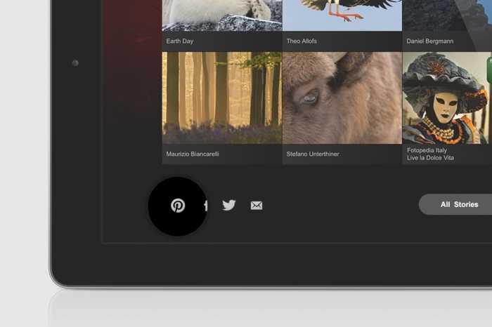 Pinterest توفر زر المشاركة على الموقع Pin it في عدد من تطبيقات الهواتف المحمولة مثل Behance وEtsy وFotopedia.