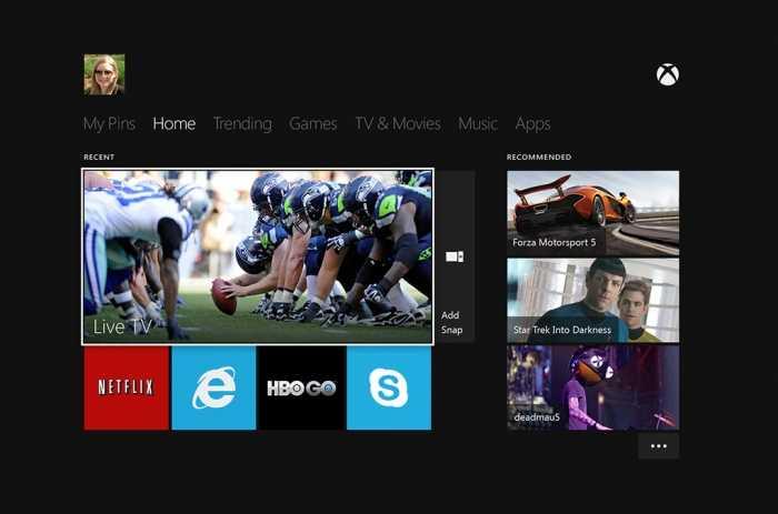 واجهة المستخدم في Xbox One