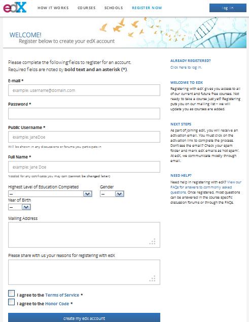 صورة لنموذج التسجيل في موقع edx
