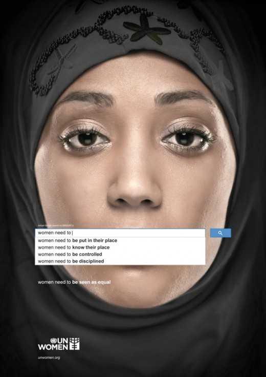 سلسلة إعلانات تستخدم ميزة الإكمال التلقائي في بحث جوجل لتوضيح التحيز ضد المرأة