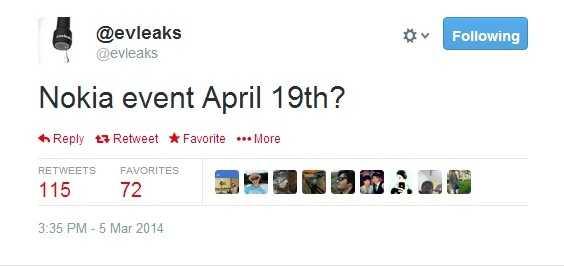 نوكيا ستعقد حدث جديد في 19 أبريل المقبل من المتوقع أن تعلن فيه عن هاتف لوميا جديد