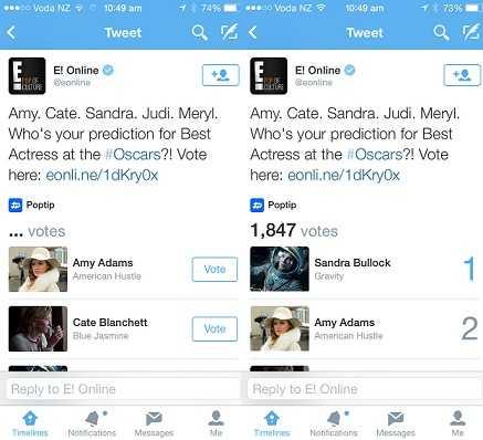 تويتر تتيح ظهور بطاقة استطلاع تتيح للمستخدمين التصويت ضمن التغريدة