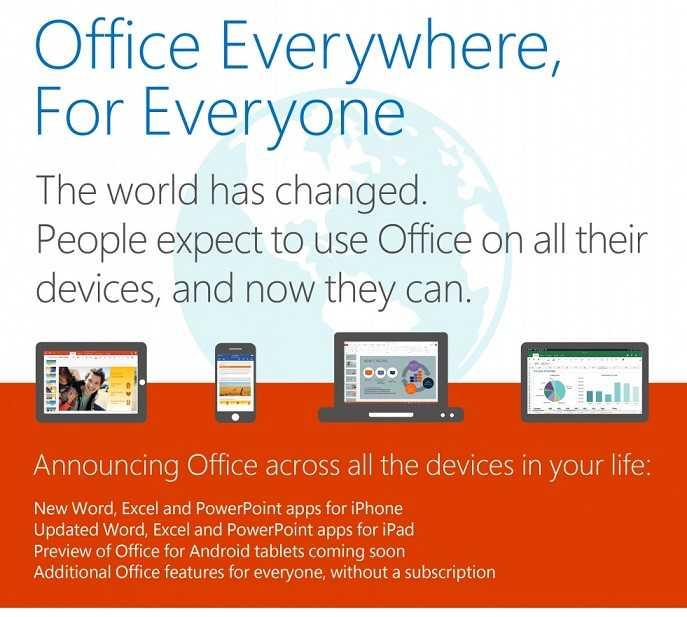 مايكروسوفت توفر تطبيقات أوفيس مجانا لأجهزة iOS وأندرويد