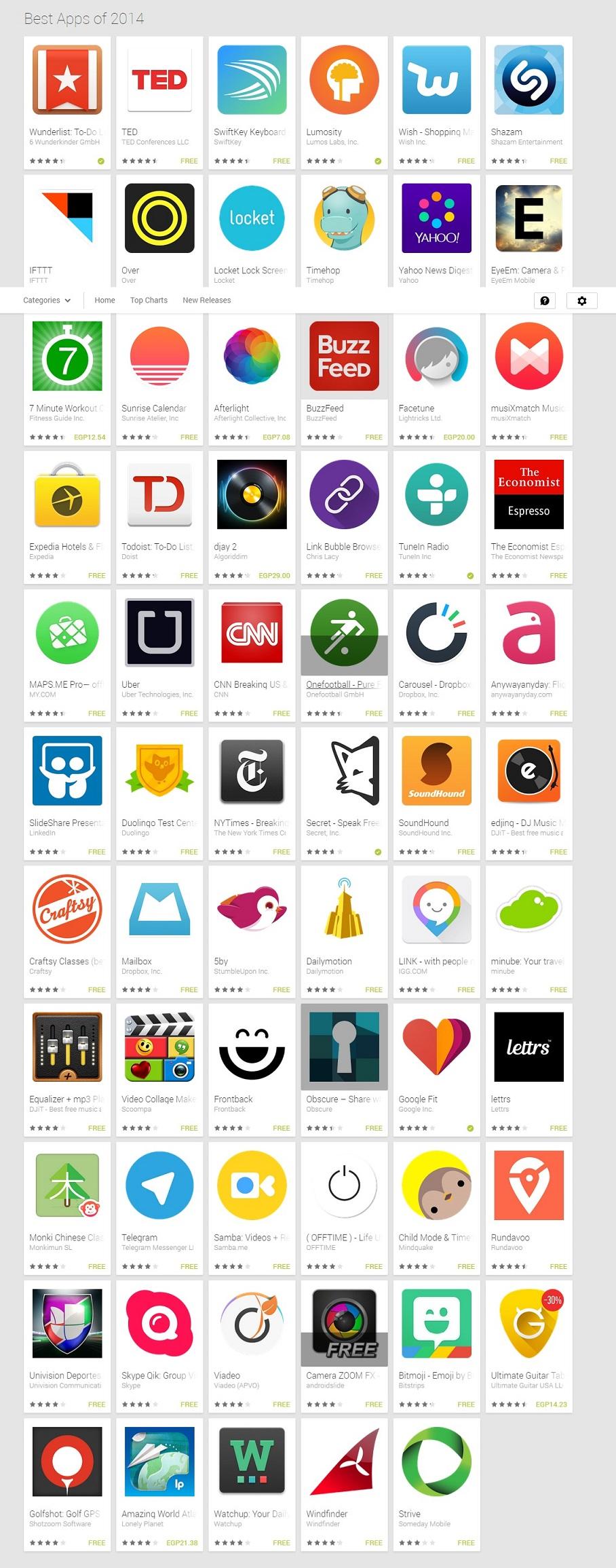 جوجل تكشف عن أفضل تطبيقات أندرويد في 2014