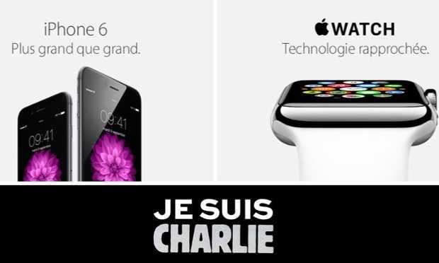"""الهجوم على شارلي إيبدو: موقع أبل فرنسا يضع لافتة """"أنا شارلي"""""""