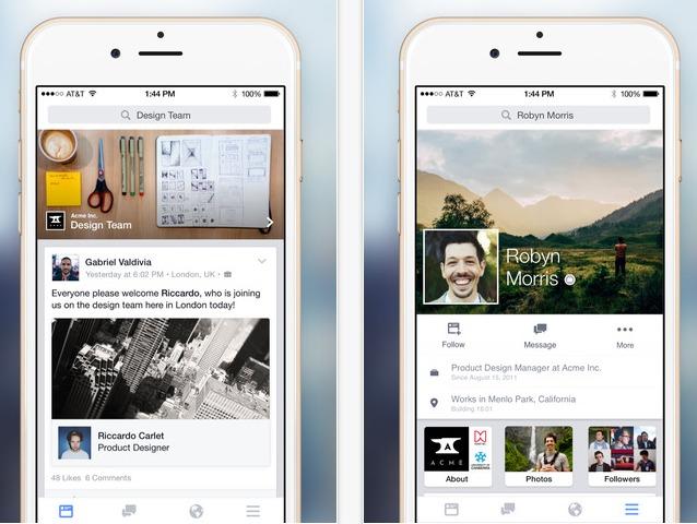 تطبيق Facebook at Work متوفر الآن لهواتف آيفون