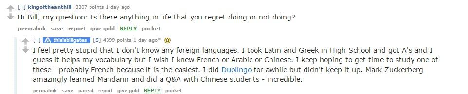 بيل جيتس: كنت أتمنى تعلم اللغة العربية