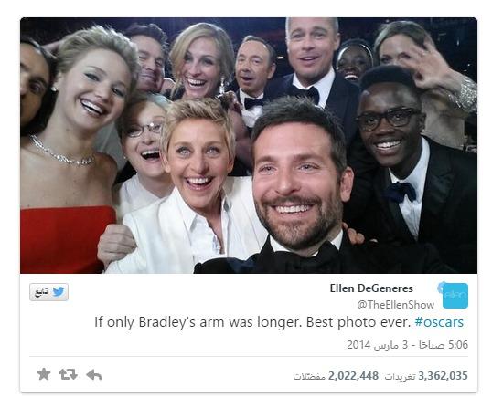 14.7 مليون تغريدة خلال حفل الأوسكار وتغريدة تحصل على أكثر من 2 مليون ريتويت   صدى التقنية