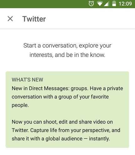 تطبيق تويتر لأندرويد يحصل على ميزة الفيديو والتراسل الجماعي