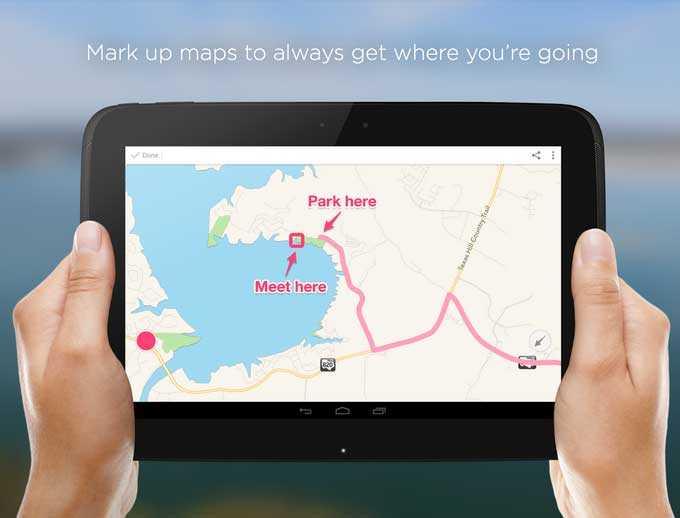 يوفر Skitch التقاط صورة للخرائط وتوضيح عنوان عليها