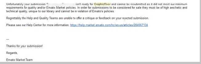 رسالة رفض المنتجات في إنفاتو envato