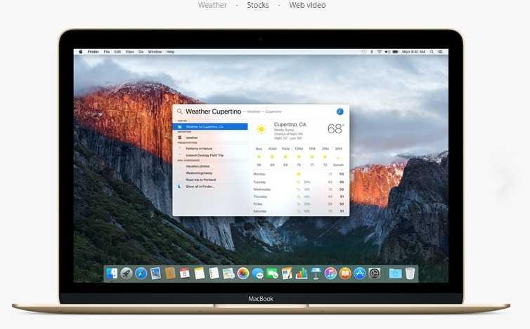 OS X El Capitan -spotlight