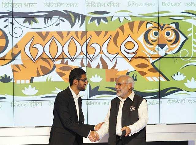 رئيس الوزراء الهندي مع الرئيس التنفيذي لشركة جوجل