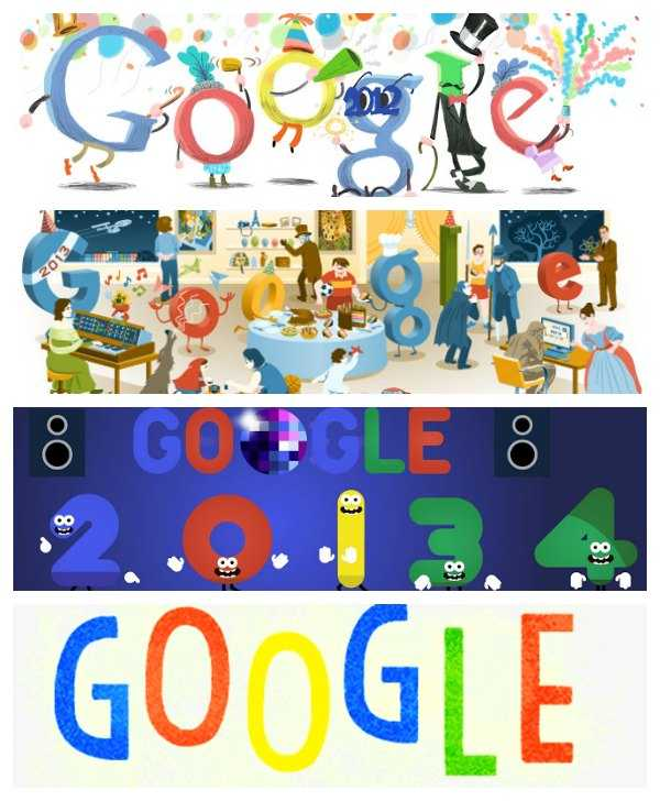 تحتفل جوجل بمناسبة ليلة رأس السنة منذ عام 2011