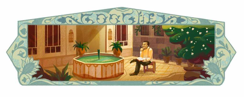 نزار قباني في فناء منزل دمشقي