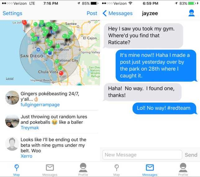 GoChat: تطبيق للتواصل مع لاعبي لعبة بوكيمون جو القريبين منك