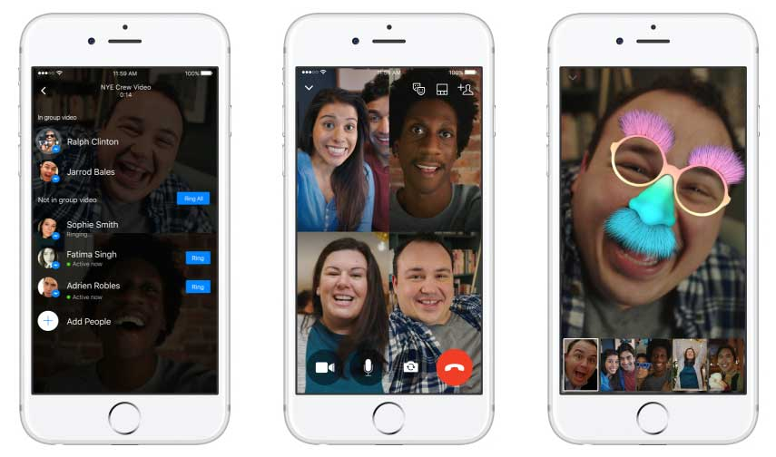 تتيح ميزة مكالمات الفيديو الجماعية في ماسنجر إجراء محادثة مع 50 شخص