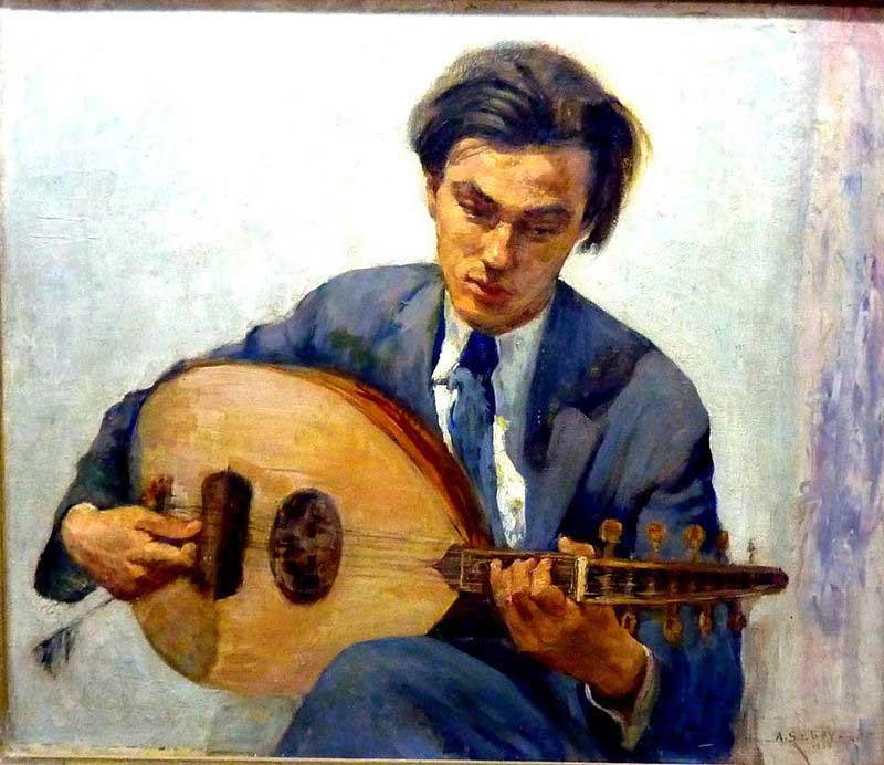 حسين بيكار يلعب على العود بريشة استاذه أحمد صبري
