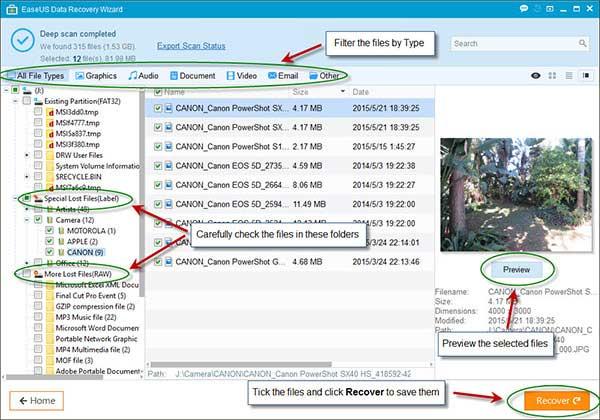 معاينة الملفات المحذوفة EaseUS Data Recovery