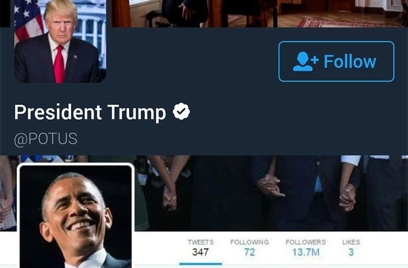 تنصيب ترامب يشهد أول تسليم رسمي لحساب خاص على تويتر