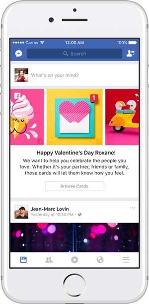 فيس بوك سيمتلئ ببطاقات عيد الحب في 14 فبراير المقبل