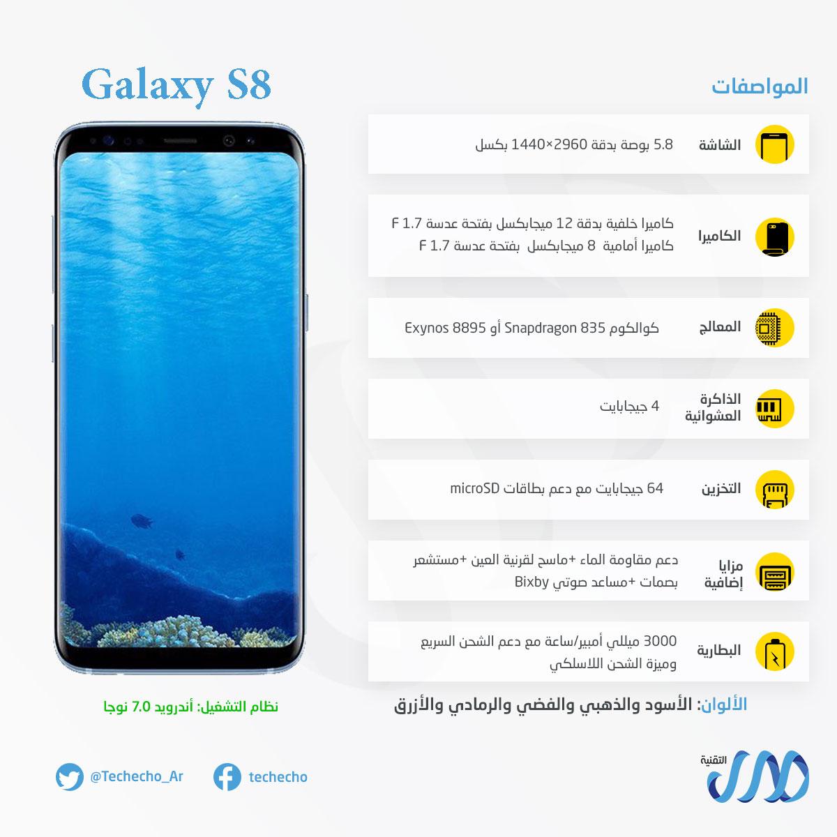 مواصفات Galaxy S8 جالاكسي اس 8