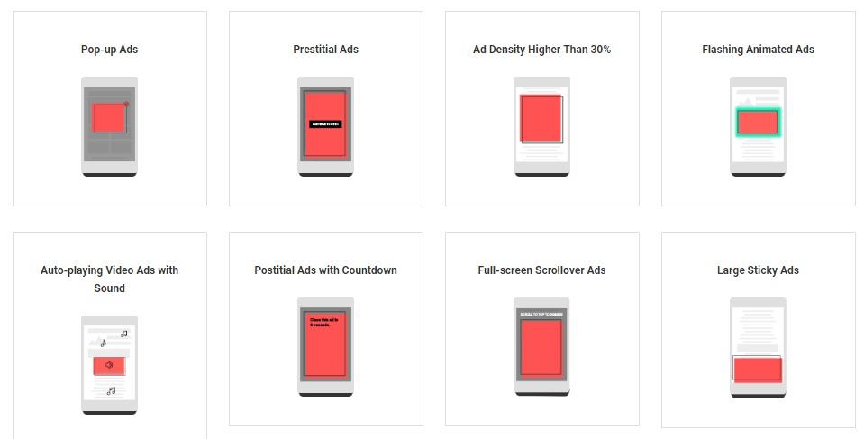 نماذج للإعلانات التي سيحجبها كروم