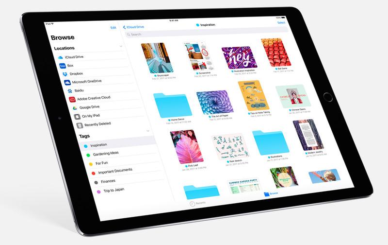 تطبيق Files لإدارة الملفات في آيباد ios 11
