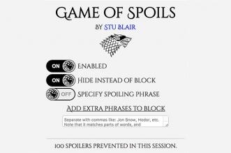 """GameofSpoils: إضافة لحجب أي """"حرق"""" لأحداث """"صراع العروش"""" على الشبكات الاجتماعية"""