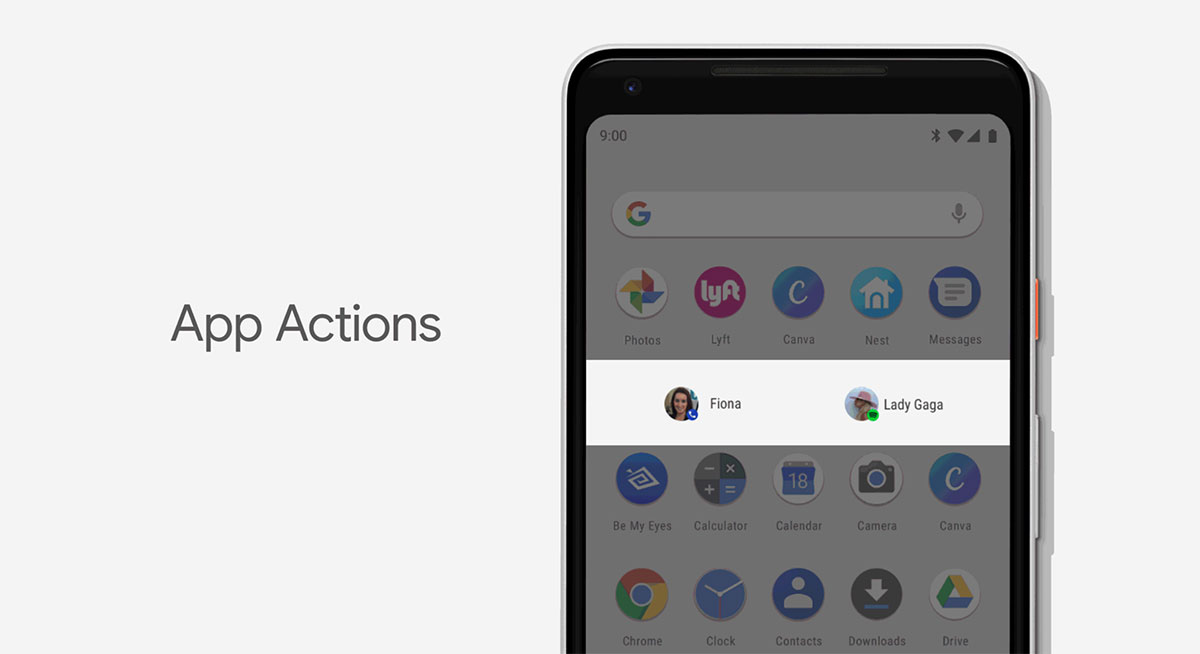 ميزة App Actions في android p