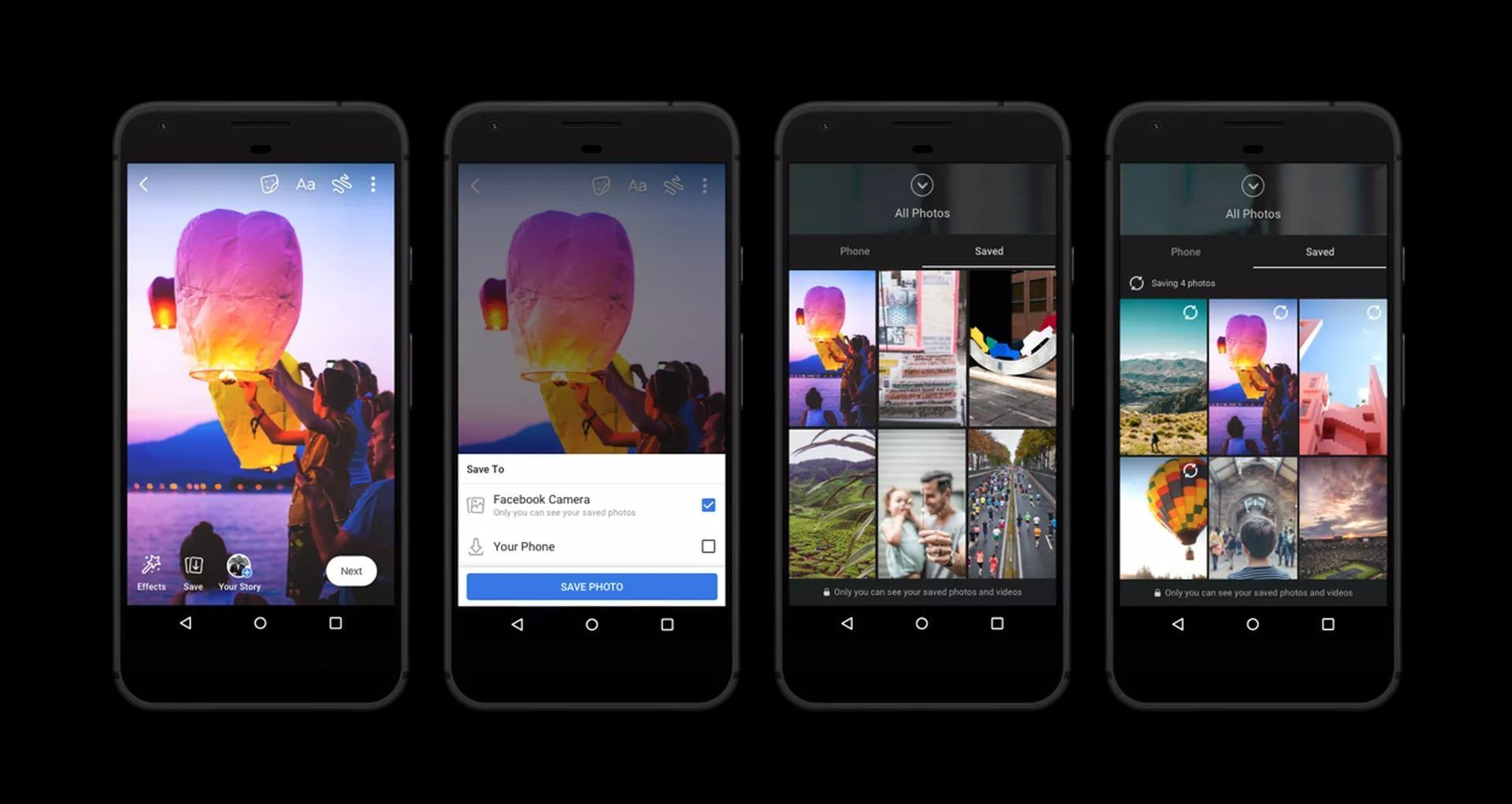 ميزة حفظ الصور ومقاطع الفيديو للمستخدم التقاط صور ومقاطع فيديو من خلال كاميرا فيس بوك