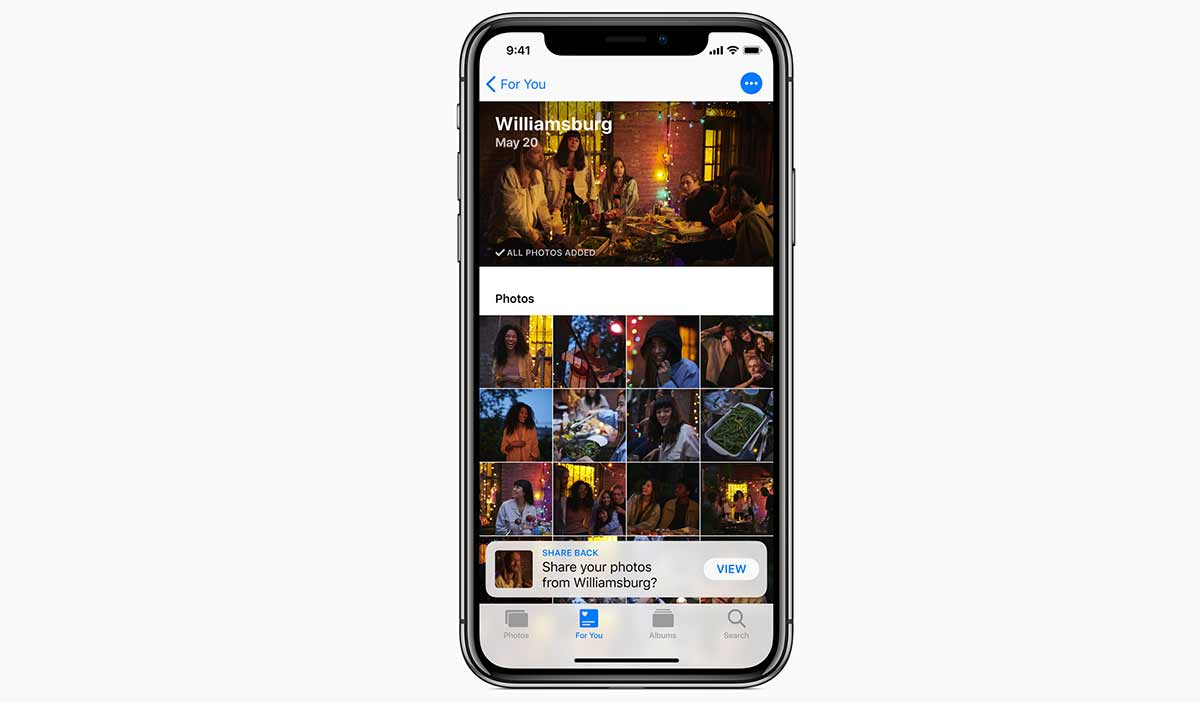 تبويب For You في تطبيق الصور في iOS 12