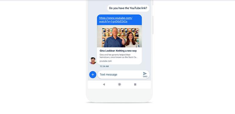 معاينة الروابط وصفحات الويب في المحادثات Android Messages