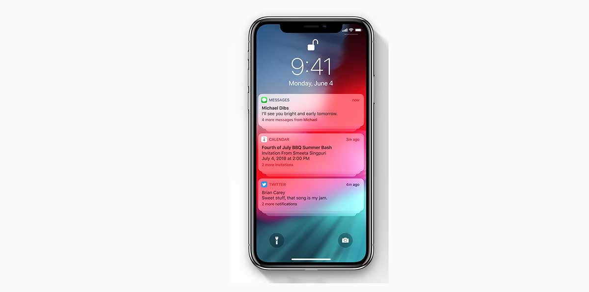 تنبيهات مجمعة في iOS 12