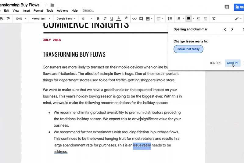 Google Docs يحصل على ميزة التدقيق النحوي اعتمادا على تقنيات الذكاء الصناعي