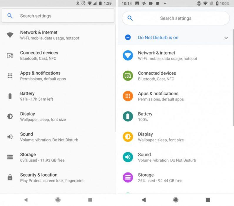 تحسينات على تصميم قائمة الإعدادات في android pie اندرويد 9 باي