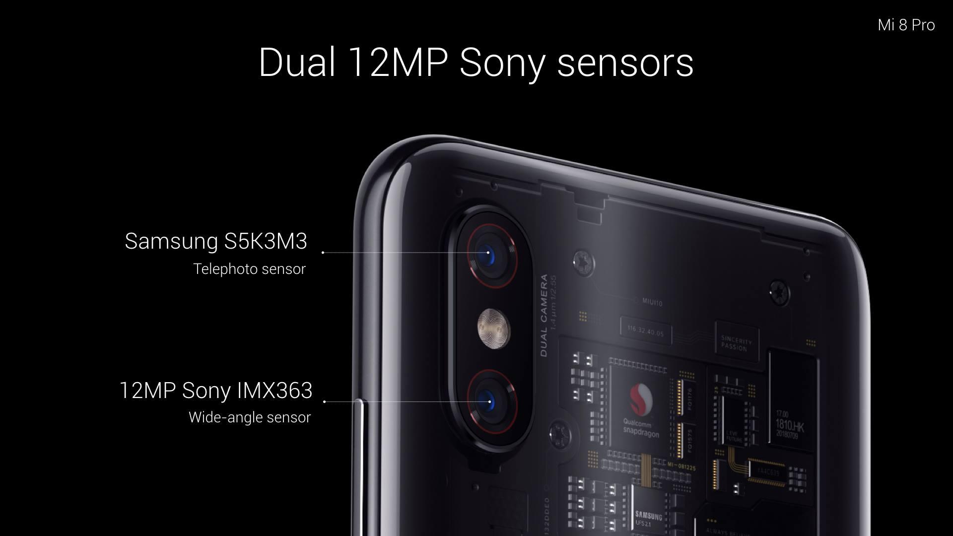 يحملXiaomi Mi 8 Pro كاميرتين خلفيتين بدقة 12 ميجابكسل