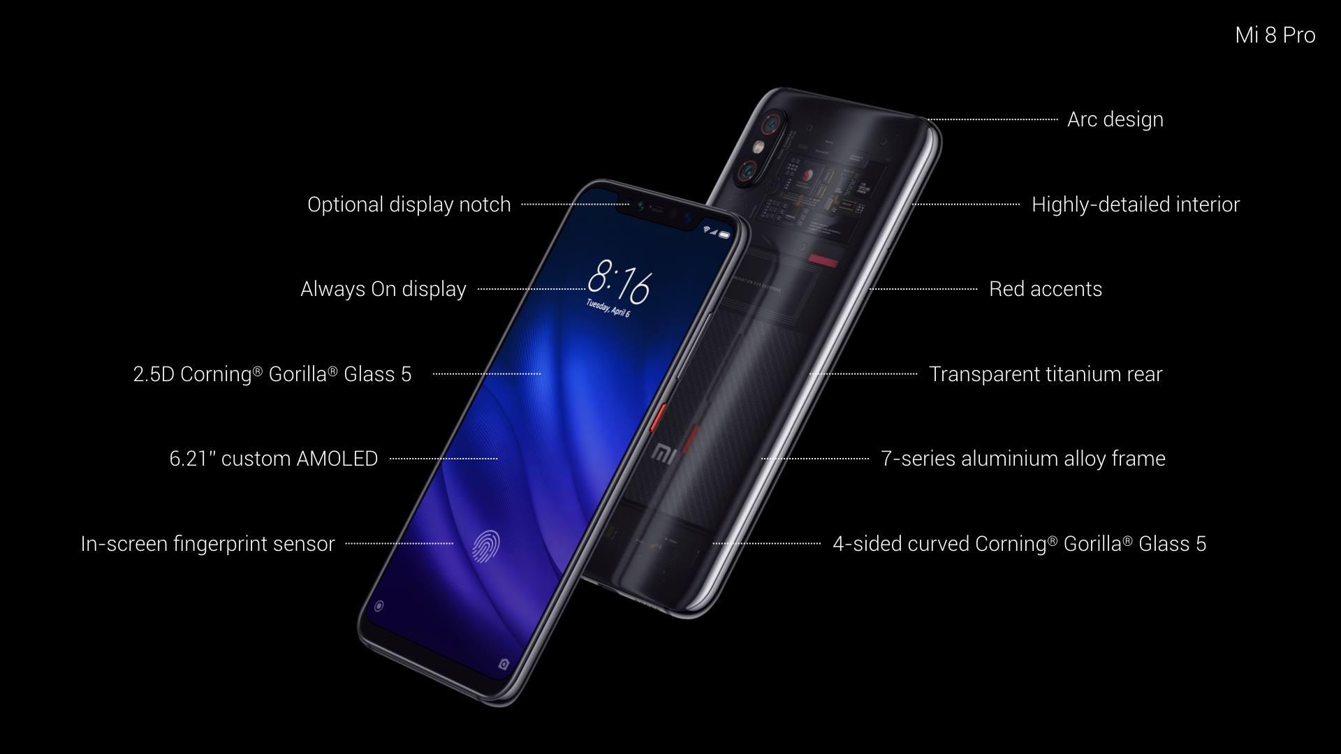 يأتي Xiaomi Mi 8 Pro شاومي مي 8 برو مزودا بشاشة AMOLED