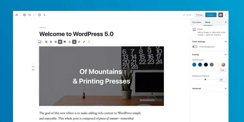 Wordpress 5.0 ووردبرس 5.0 متوفر للتحميل الآن مع محرر جديد كليا