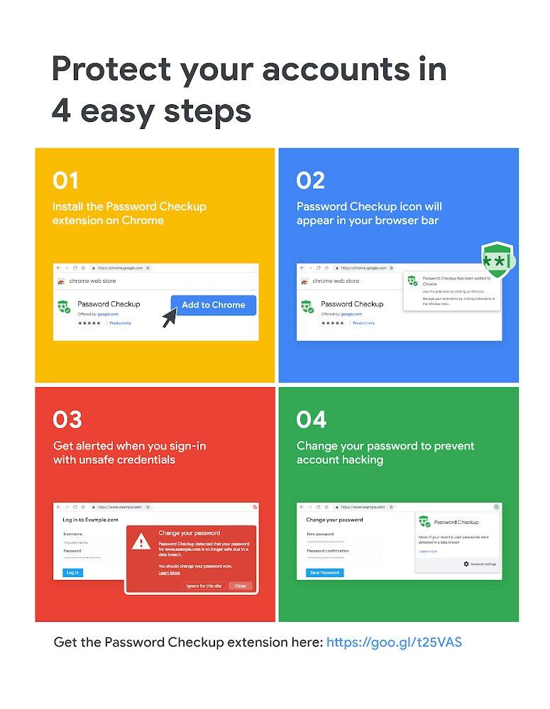 تحمي إضافة Password Checkup لمتصفح جوجل كروم بيانات المستخدمين على الخدمات والمواقع المختلفة