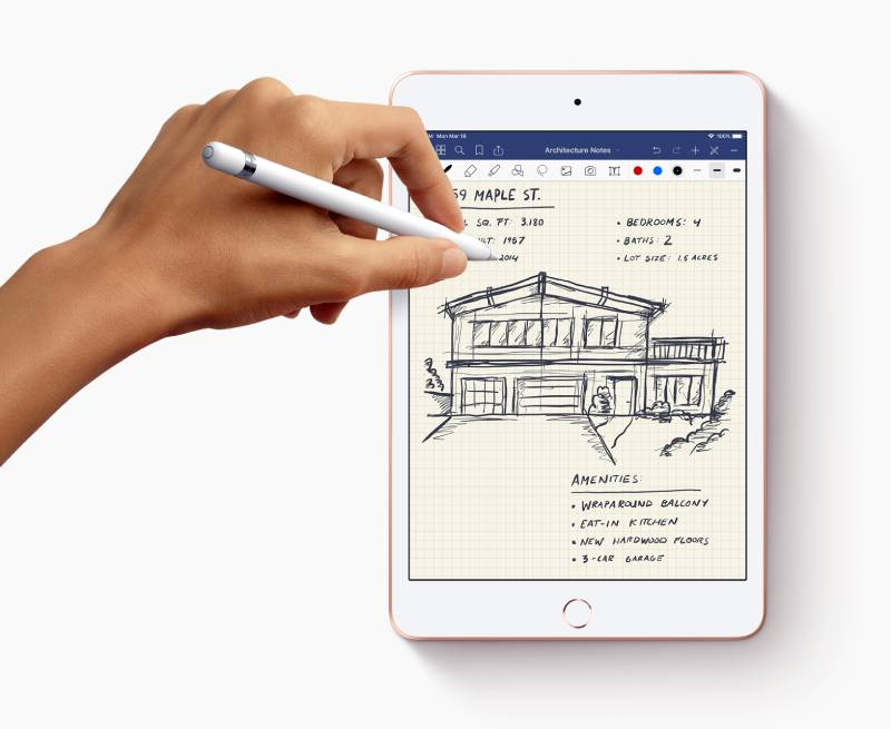 وفرت آبل دعم قلمها الرقمي Apple Pencil في iPad mini 2019 ايباد ميني 2019