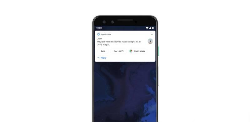 دعم Android Q ميزة الردود الذكية