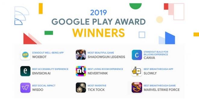 جائزة جوجل بلاي لعام 2019 لأفضل التطبيقات والألعاب
