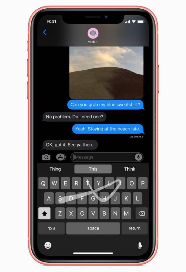 دعم الكتابة بالسحب على الشاشة في ايفون
